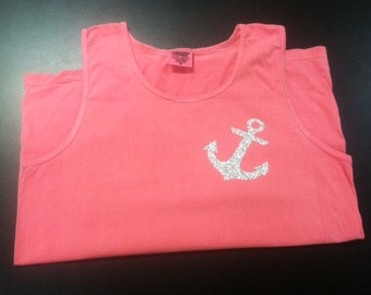 Glittery Anchor Comfort colors tanks!