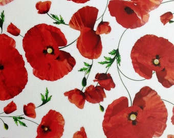 Oilcloth tablecloth fabric poppies C140704