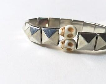 Metal and skull bracelet