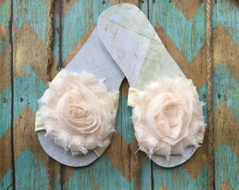 Handmade shabby chic bare feet flower slippers