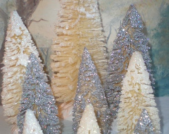 White and Silver glittered Bottle brush tree Forest for villages or crafts