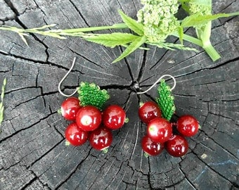 Red Berries Earrings, Summer Earrings, Nature Inspired Earrings, Red and Green Earrings, Gift for Girl, Cowberry Earrings.