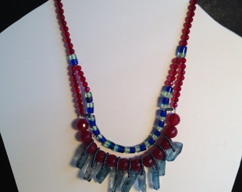 Blue and maroon glass bead necklace