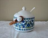 Vintage Jam Jar with Spoon Japan 1970s Bird Flower Design