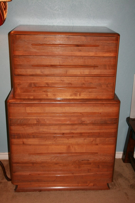 Bissman vintage danish mid century modern solid walnut 6 piece for Vintage danish modern bedroom furniture