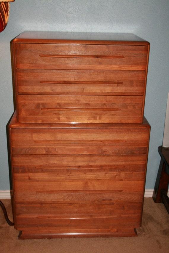 vintage danish mid century modern solid walnut 6 piece bedroom set