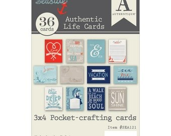 "Authentique~Seaside Crafting Pad 3""X4"" Authentic Life Cards For Pockets"