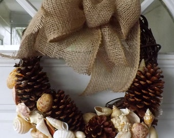 Seashells nautical beach theme wreath with burlap bow and pine cones