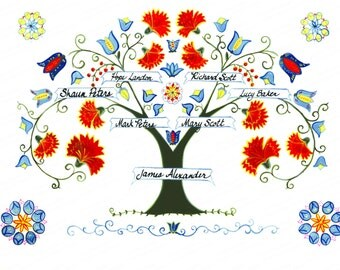 Traditional Family Tree Personalized Print (J2) Perfect for Wedding Gift, Anniversary Gift, Baptism or Christening Gift