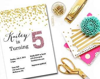 Custom Invite, Gold confetti invitation, Personalized girl Invitations, birthday party Invitation, Birthday girl, pink glitter IV03