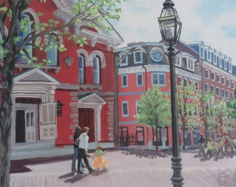 Portsmouth NH, print, colorful, cityscape, urban painting, market square, brick buildings, north church, cobblestone, new england painting