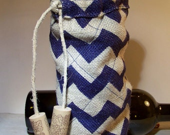 Tote, Navy Chevron Gift Bag, Wine Bag Tote, Handmade Wine Cooler Bag