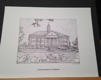 James Madison 11x14 print of Wilson Hall