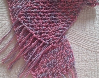 100% Organic Cotton Scarf, Handmade, Short Knitted Scarf