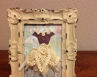 Handmade Mixed Media Altered Art Framed Dress Form