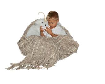 Moth bean bag chair with afghan blanket wings