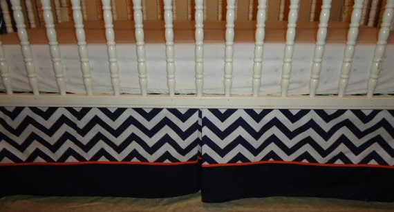 chevron navy blue and white baby crib skirt by prettythreads22