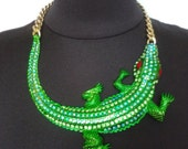 Large Vintage Crystal Necklace with Crocodile