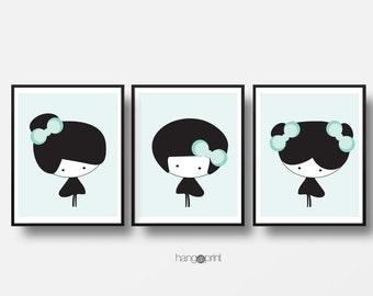Girls Room Decor Set, Nursery Print, Printable Wall Art, Kids Modern Decor, Girls Nursery Art, Baby Girl Original Digital Art, Girls Room