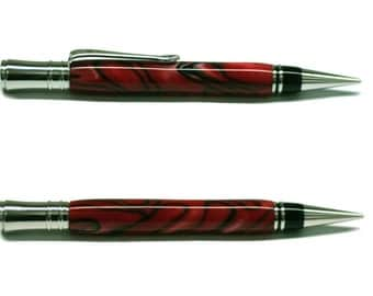 Red and Black Acrylic on Rhodium with Black Enamel Executive Twist Pencil