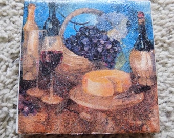 Wine and Cheese Ceramic Tile Coasters (Set of 4)