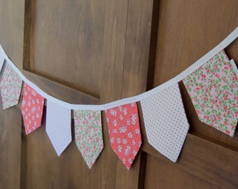SALE Vintage Inspired Fabric Bunting Banner, Pennant Banner for Nursery, Bedroom, Party Decor, Photo Prop, Flag Banner, Gift Idea