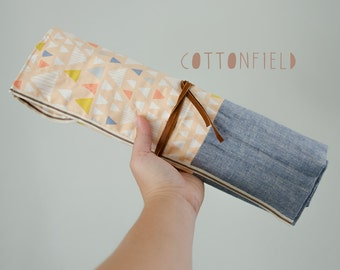 Straight and Circular Knitting Needle Case in Peachy Triangles