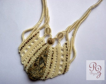 Ivory necklace with fossilized limestone natural stone