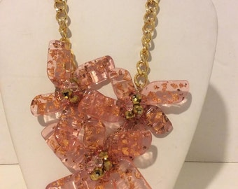 Extra chunky pink and gold 3 flower resin statement link necklace