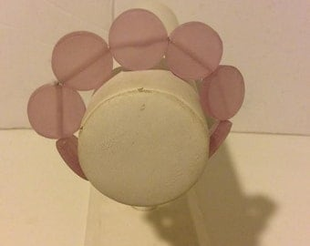 Light pink resin beaded stretch circle bracelet