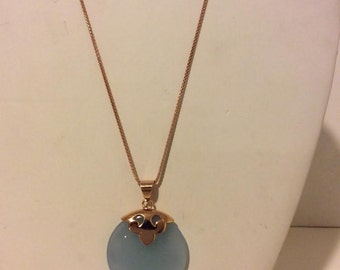 Round blue and rose gold coated sterling silver mood pendant necklace