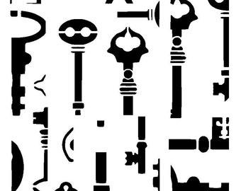 "11.7/16.5"" Vintage key background stencil.  A3"