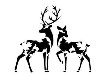 "8.3/11.7"" Vintage design deers stencil. A4."