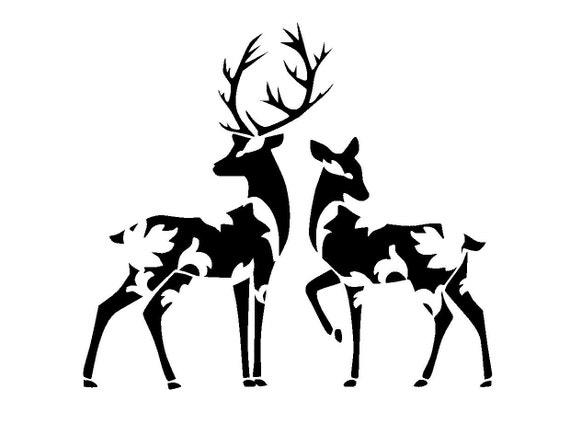 8.3/11.7 Vintage design deers stencil. A4.