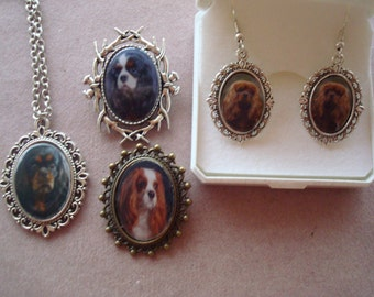 Cavalier King Charles Spaniel Jewellery. Pendant, Earring and Brooches