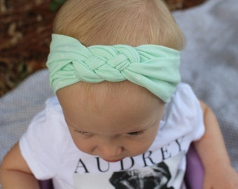 mint polka dot celtic knot baby headband