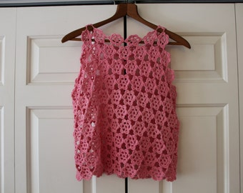 Pink Floral Crochet Tank