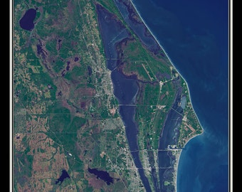 Cape Canaveral Florida Satellite Poster Map