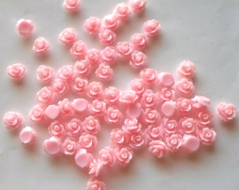 20/50/ 100  x  Baby Pink Flat Back Rose Flower 10mm Resin / Acrylic Cabochons