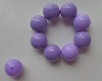 8 x  Chunky Gumball Bubble Gum Round Acrylic Beads Lilac Lavender Purple Acrylic Plastic Jewellery Making - 20mm -B9