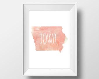 Iowa State Pink Watercolor Printable Art, Iowa State Print, Iowa Art, Modern Art,
