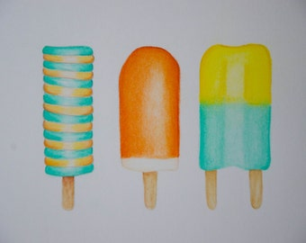 Pastel drawing ice cream (Orange and Mint green)