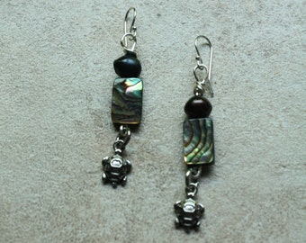 73 Abalone, freshwater pearl and charm wire wrapped dangle earrings