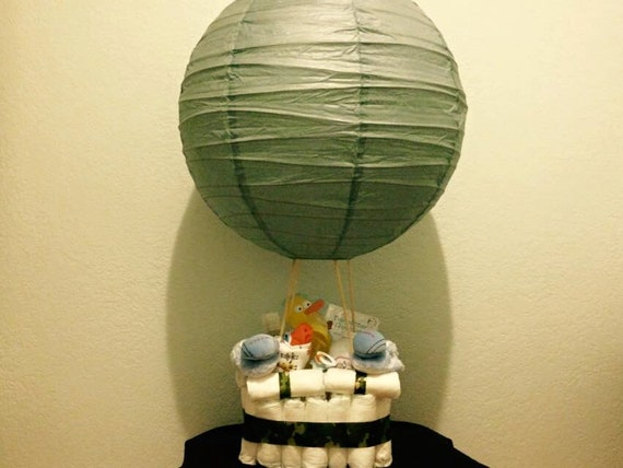 items similar to baby boy diaper cake hot air balloon diaper cake baby shower centerpiece baby. Black Bedroom Furniture Sets. Home Design Ideas