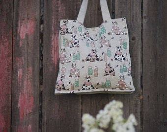 Linen canvas tote shopping bag with cows.