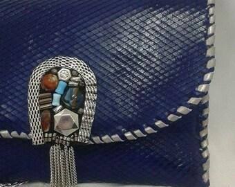 Electric blue leather handbag Vintage Style