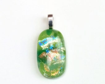 Dichroic Fused Glass Pendant  - Tectonik Collection - Green, forest green, bronze (317)