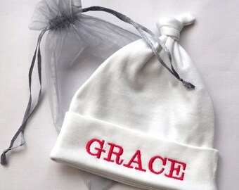 Personalised embroidered baby hat 0-3 months