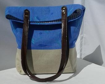Linen tote bag, leather handles bag, light blue tote bag