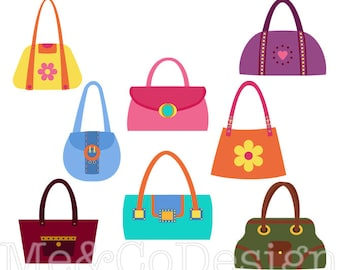Handbag Clipart, Fun Pretty Clipart, Retro, Accessory Clipart Instant Download, Personal and Commercial Use Clipart, Digital Clip Art